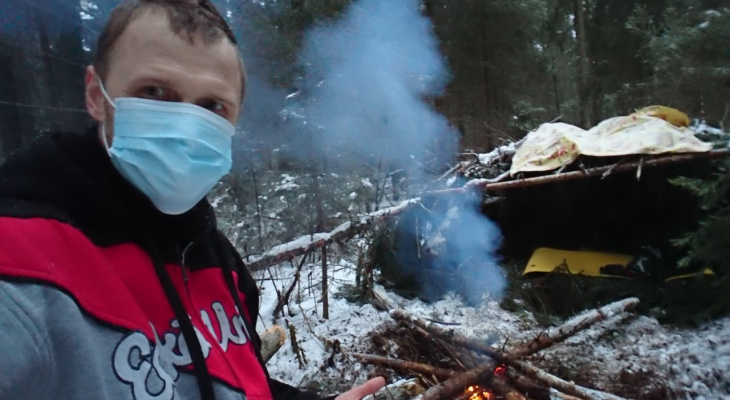 Началось: первый ярославец ушел из-за коронавируса жить в лес. Кадры