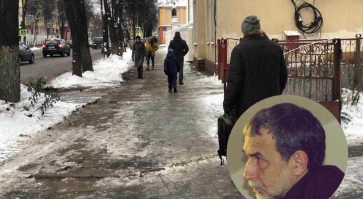 На четвереньках полз к больнице: из-за скользких дорог ярославский эколог сломал ногу