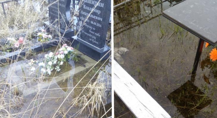 """""""Людей опускали прямо в воду"""": на Осташинском кладбище случился потоп"""
